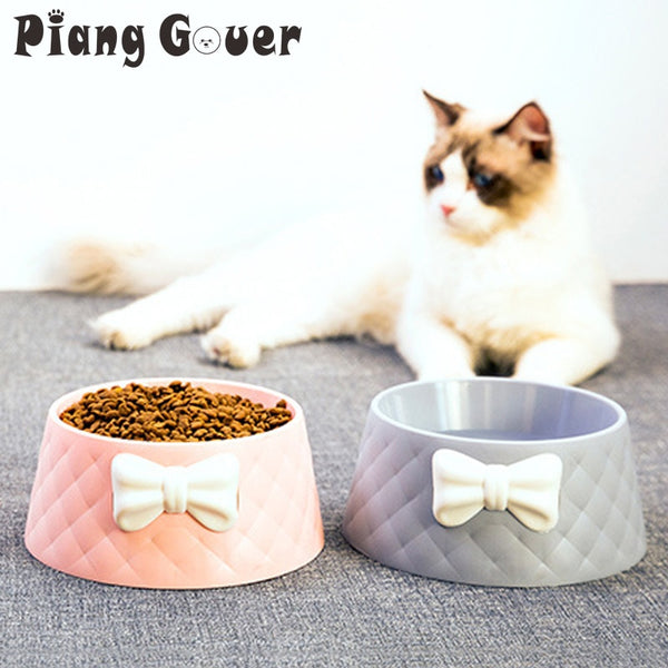 Pet Dog Feeding Food Bowls Puppy Lovely Bowknot Feeder Dish Bowel Bow Cat Bowl
