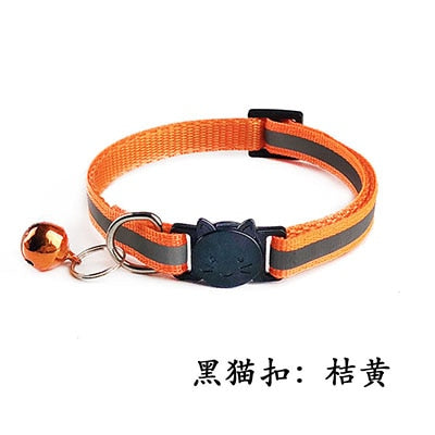 Safety Breakaway Cat Collar 12 Colors Reflective Nylon Pet Puppy Small Dog Kitten Cat Collar with Colorful Bell 19-32cm 1.0cm