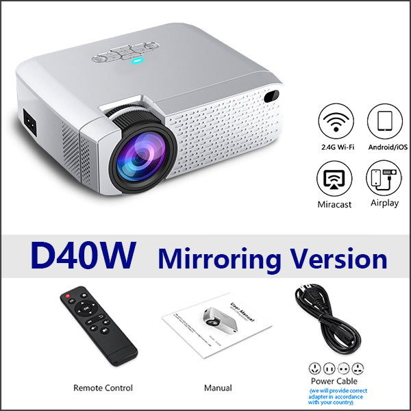 AUN LED Mini Projector D40W,Video Beamer for Home Cinema.1600 Lumens