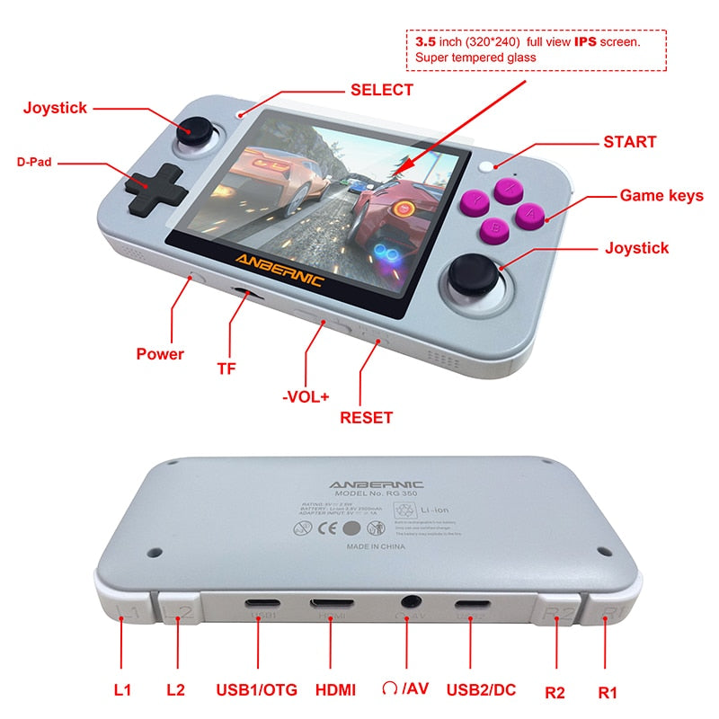 New Retro Game Console For PSP RG350 OpenDingux 3.5 inch IPS LCD 16GB ROM 64 Bit Handheld Video Game Player