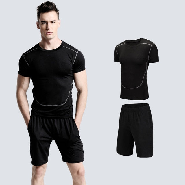 Men's Quick Dry Compression Sport Suits Basketball Tights Clothes Gym Fitness Exercise set