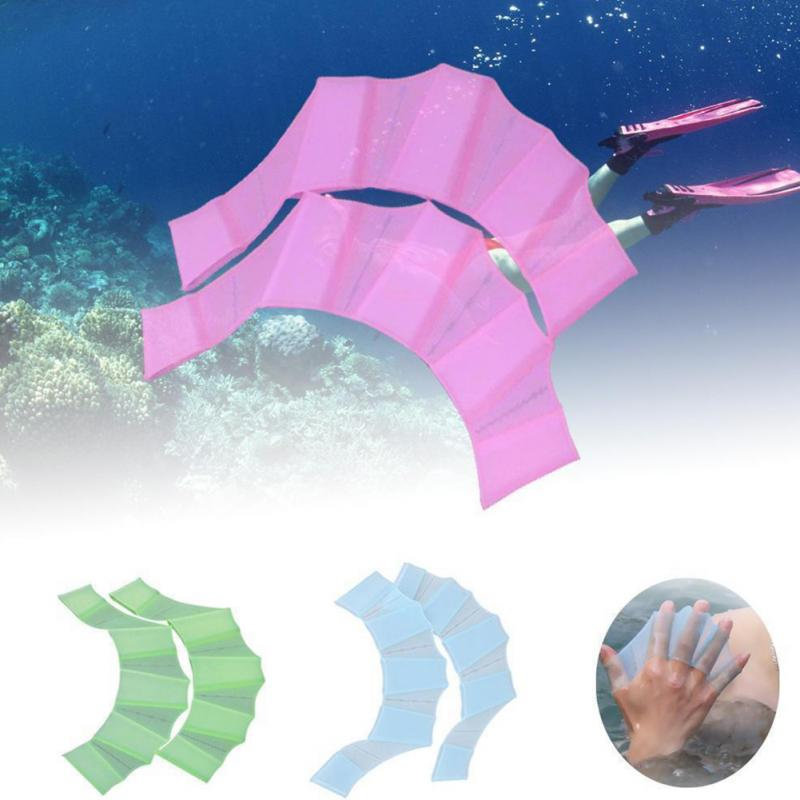 1Pair Unisex Frog Type Silicone Girdles Swimming Hand Fins Flippers Palm Finger