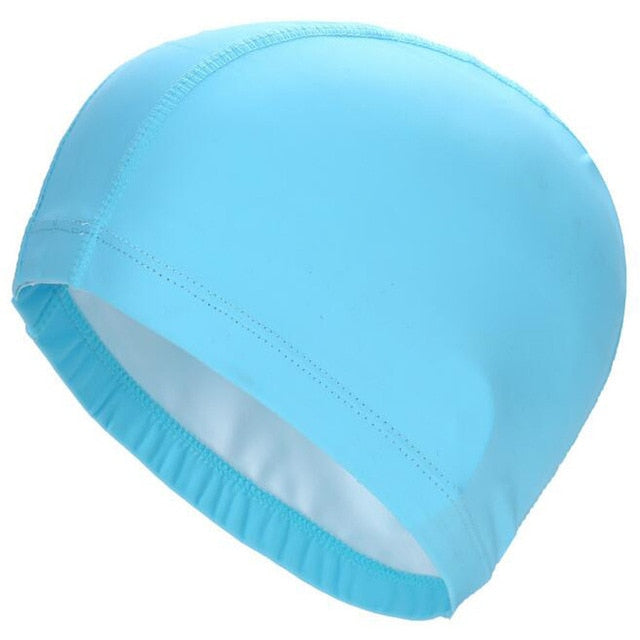 New  Elastic Waterproof PU Fabric Protect Ears Long Hair Sports Swim Pool Hat Swimming Cap Free size for Men & Women Adults