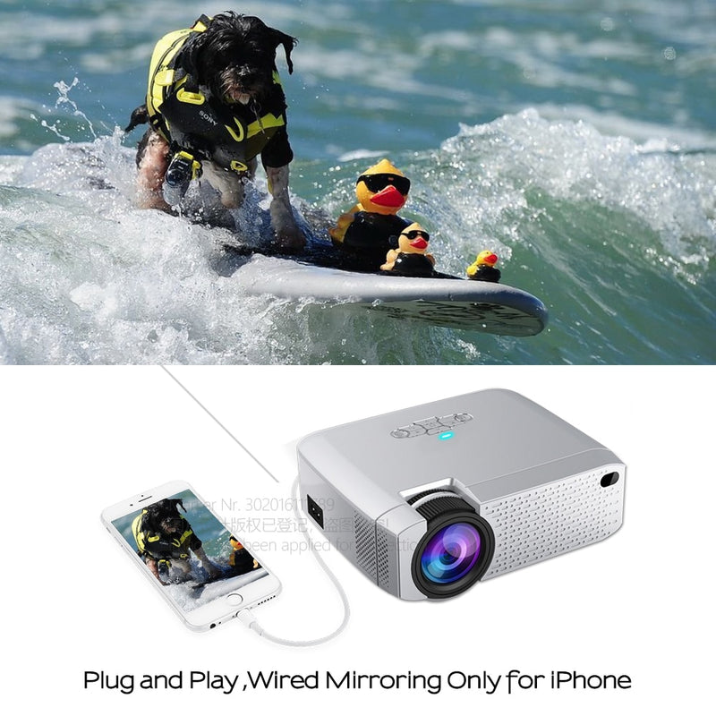 Mini Projector D40W,Video Beamer for Home Cinema.1600 Lumens