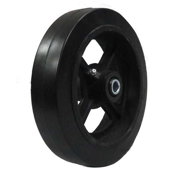 "Mold-on rubber cast iron wheel 8""x 2"""