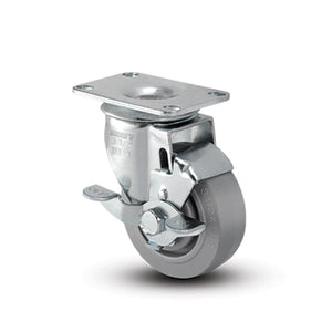 TPR Swivel Gray Small Top Plate with Brake 4""