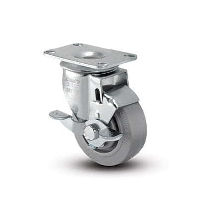 TPR Swivel Gray Small Top Plate with Brake 3 1/2
