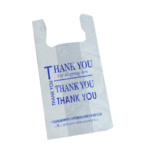 Thank You White plastic Thank you bags 1/8