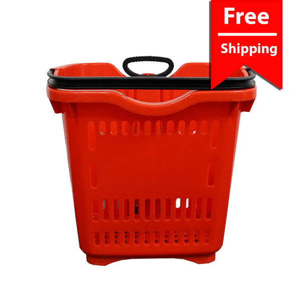 Red Two Wheel Plastic Rolling Baskets 40L