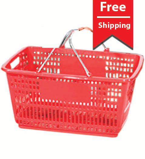 Red Plastic Hand Baskets 30L