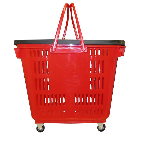 36L Four Wheel Plastic Rolling Baskets Red