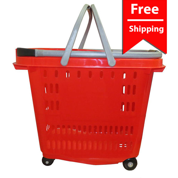 Red Four Wheel Plastic Rolling Baskets 50L