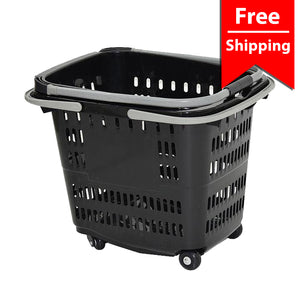 Black Four Wheel Plastic Rolling Baskets 50L