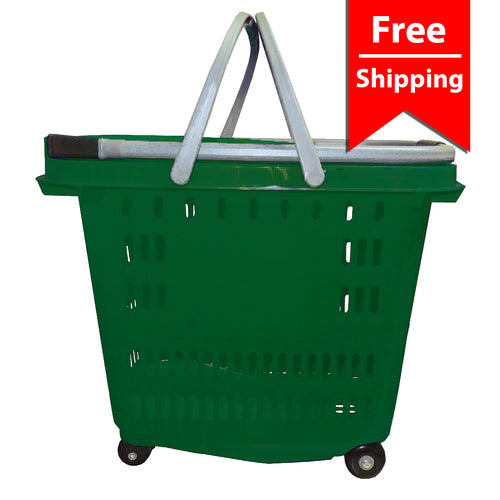grocery/retail four wheel rolling basket