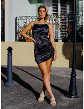 Load image into Gallery viewer, Angelique Satin Dress in Black