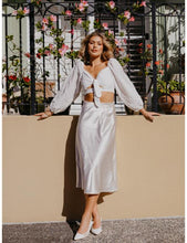 Load image into Gallery viewer, Camille Midi Satin Skirt in White