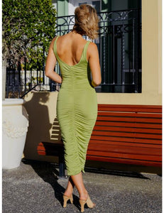 Nicola Ruched Midi Dress in Green