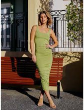 Load image into Gallery viewer, Nicola Ruched Midi Dress in Green