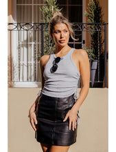 Load image into Gallery viewer, Troublemaker Leather Mini Skirt in Black