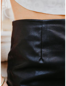 Troublemaker Leather Mini Skirt in Black