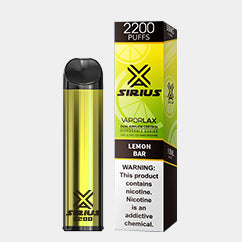 VAPORLAX SIRIUS 2200 DISPOSABLE DEVICE Lemon Bar FLAVOR 50MG