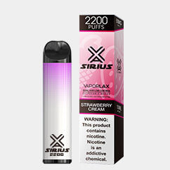 VAPORLAX SIRIUS 2200 DISPOSABLE DEVICE Strawberries Cream FLAVOR 50MG
