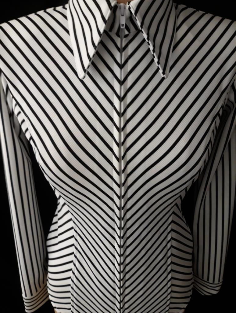 Black White V Stripe