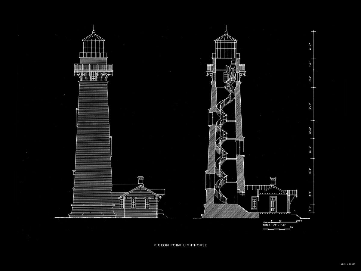 Pigeon Point Lighthouse - Southeast Elevation and Cross Section - Black -