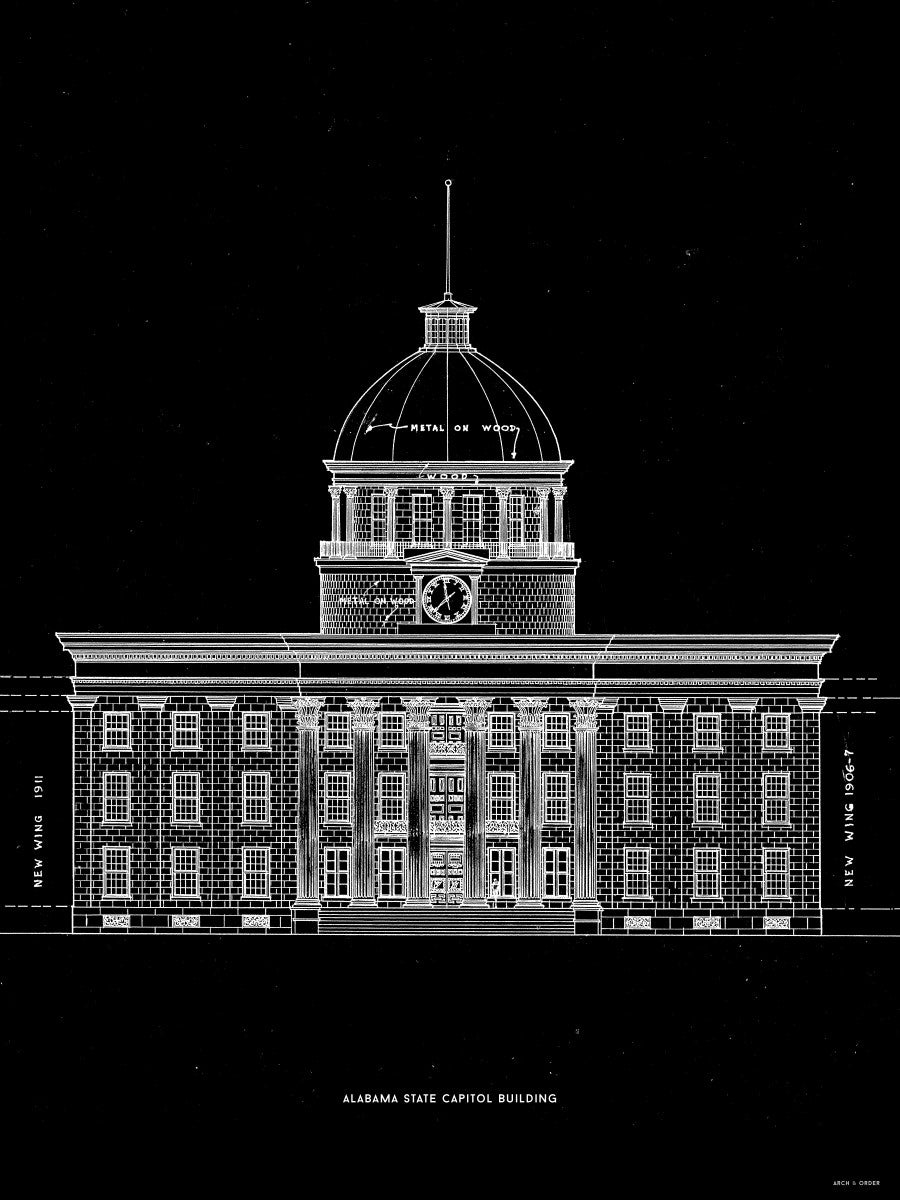 The Alabama State Capitol Building - West Elevation - Black -