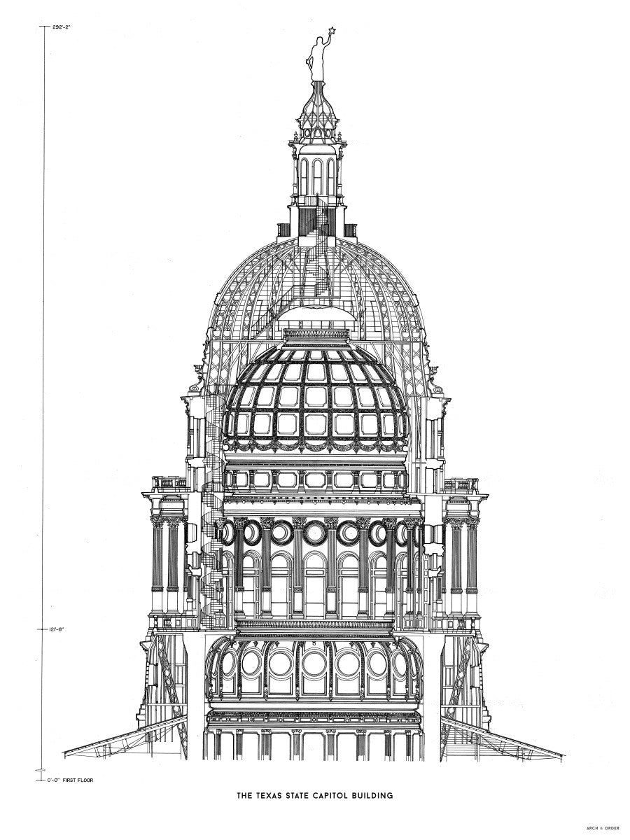 The Texas State Capitol Building - Dome Cross Section - White -