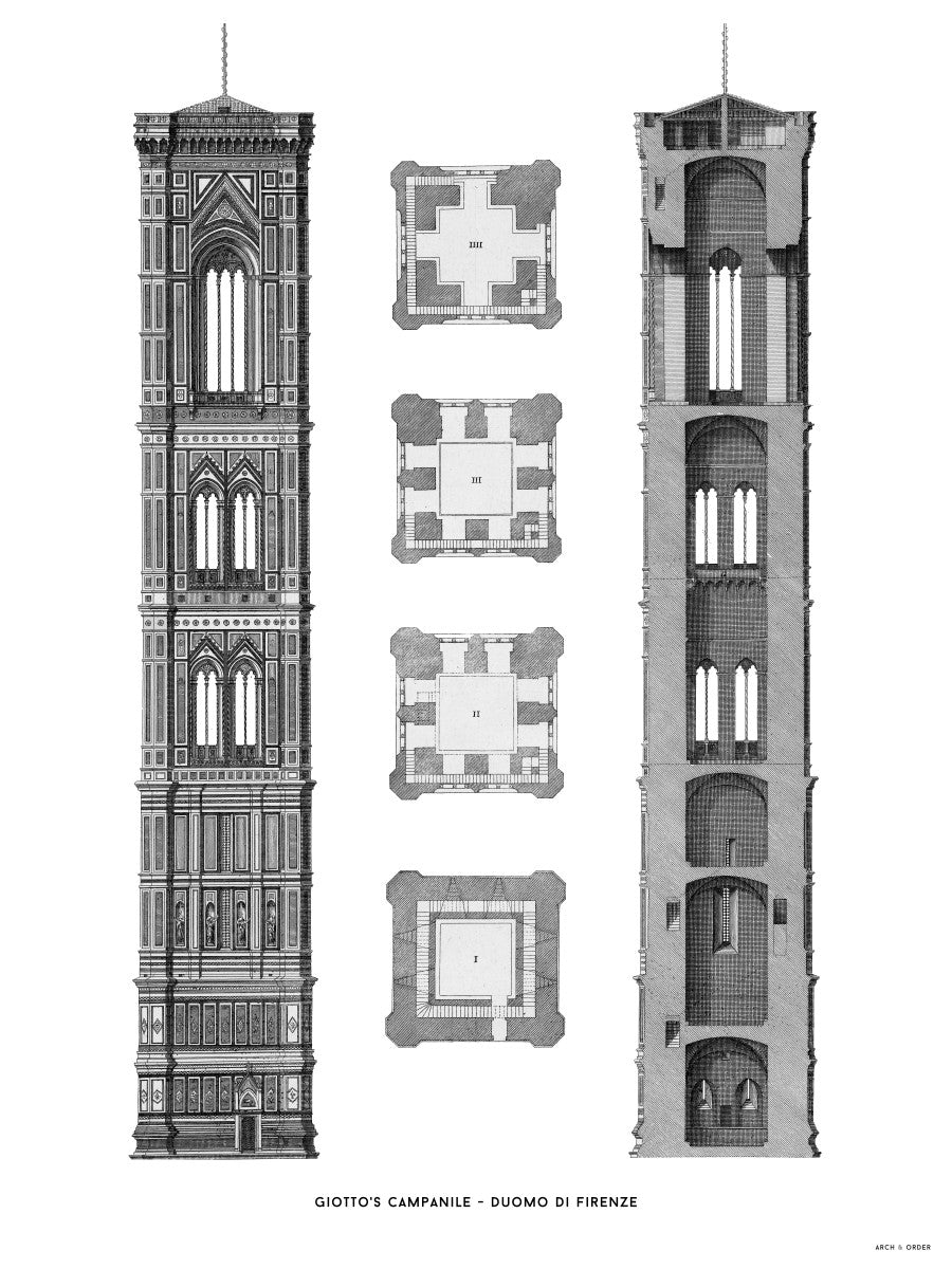 Giotto's Campanile - Cross Section - White -
