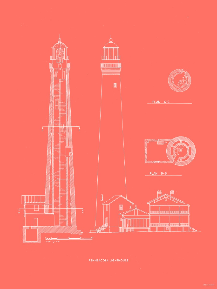 The Pensacola Lighthouse - West Elevation and Cross Section - Red -