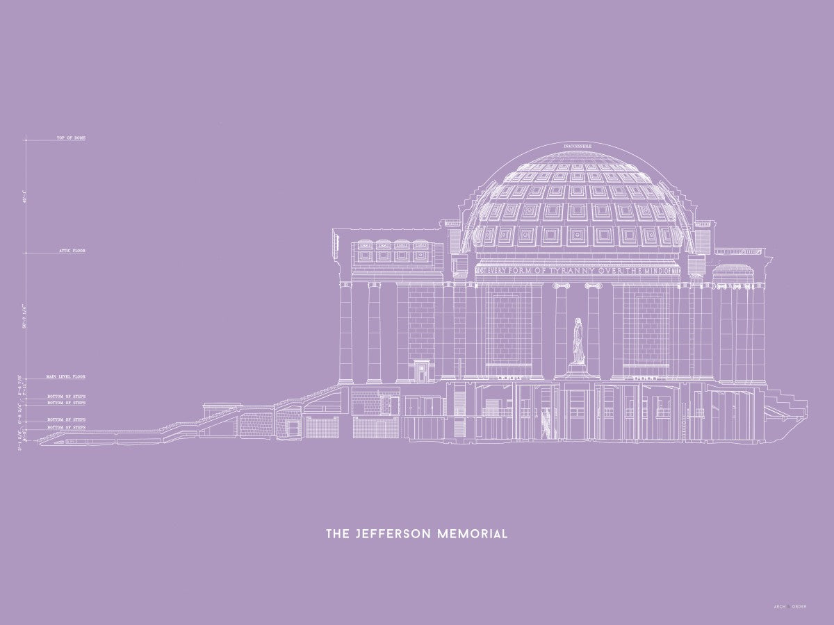 The Jefferson Memorial West Elevation Cross Section - Lavender -