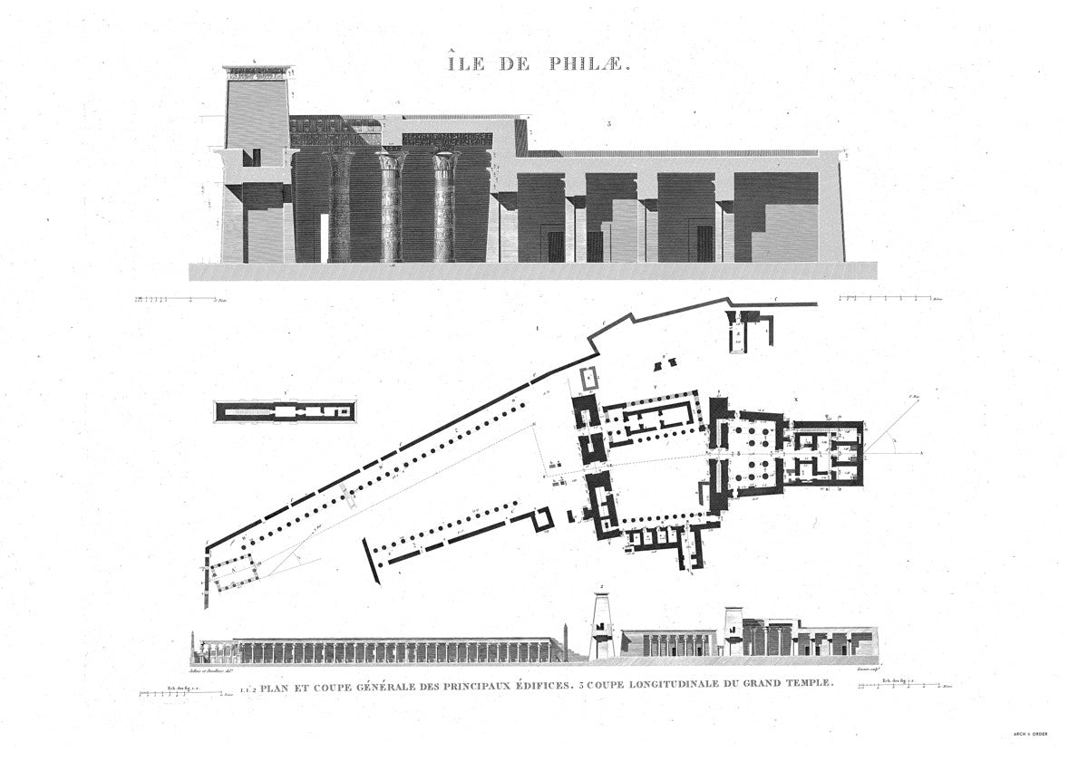 The Temple of Isis Plan and Cross Section - Philae Egypt -