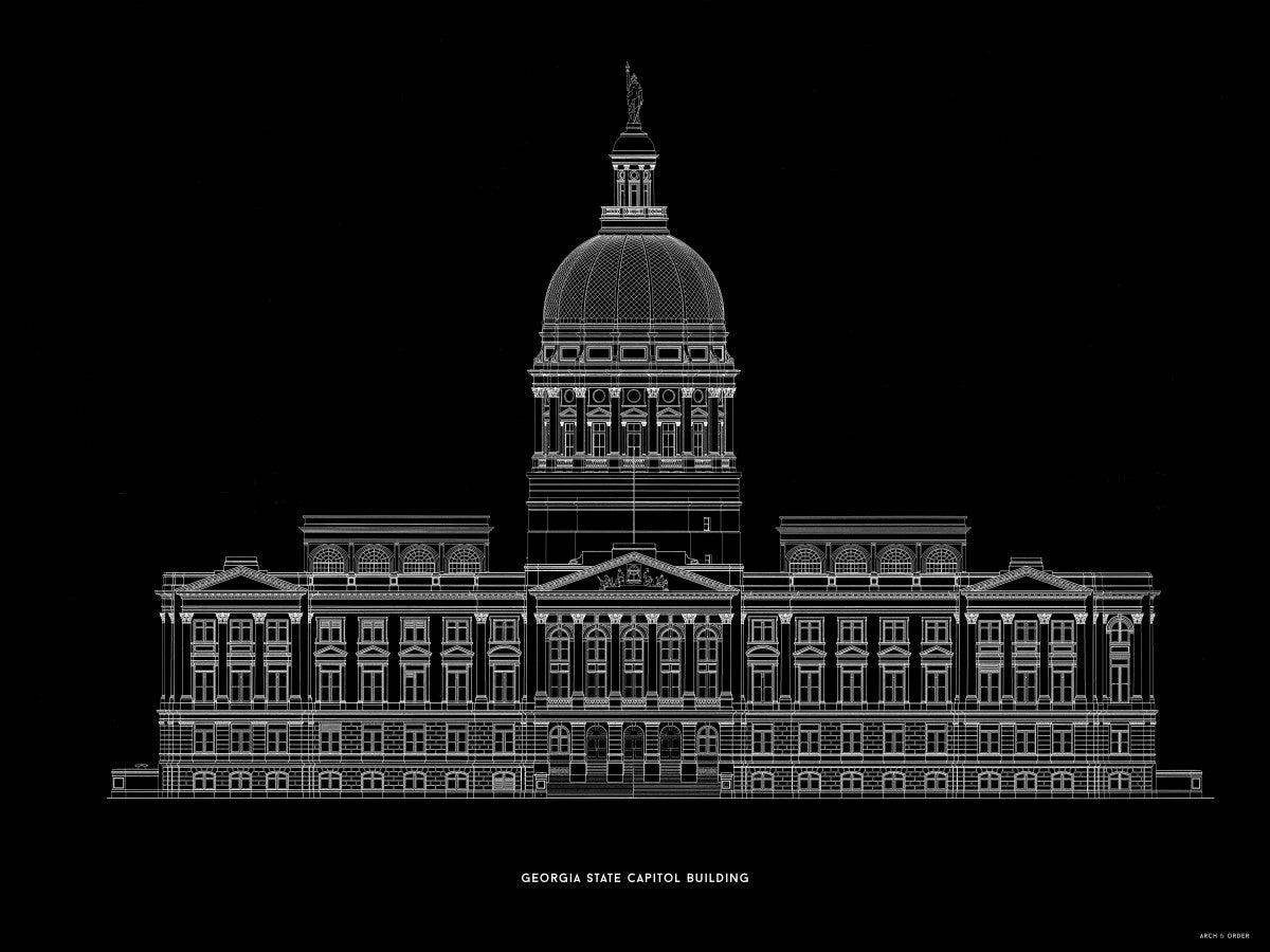 The Georgia State Capitol Building - West Elevation - Black -