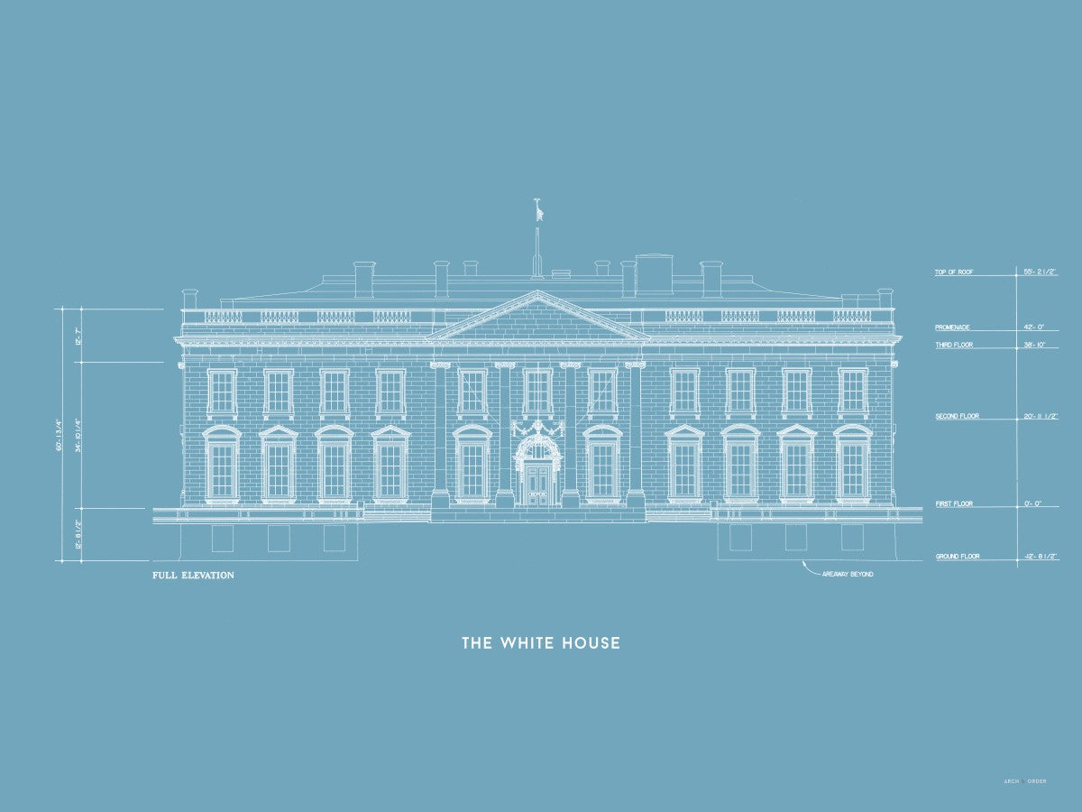 The White House North Elevation - Blue -