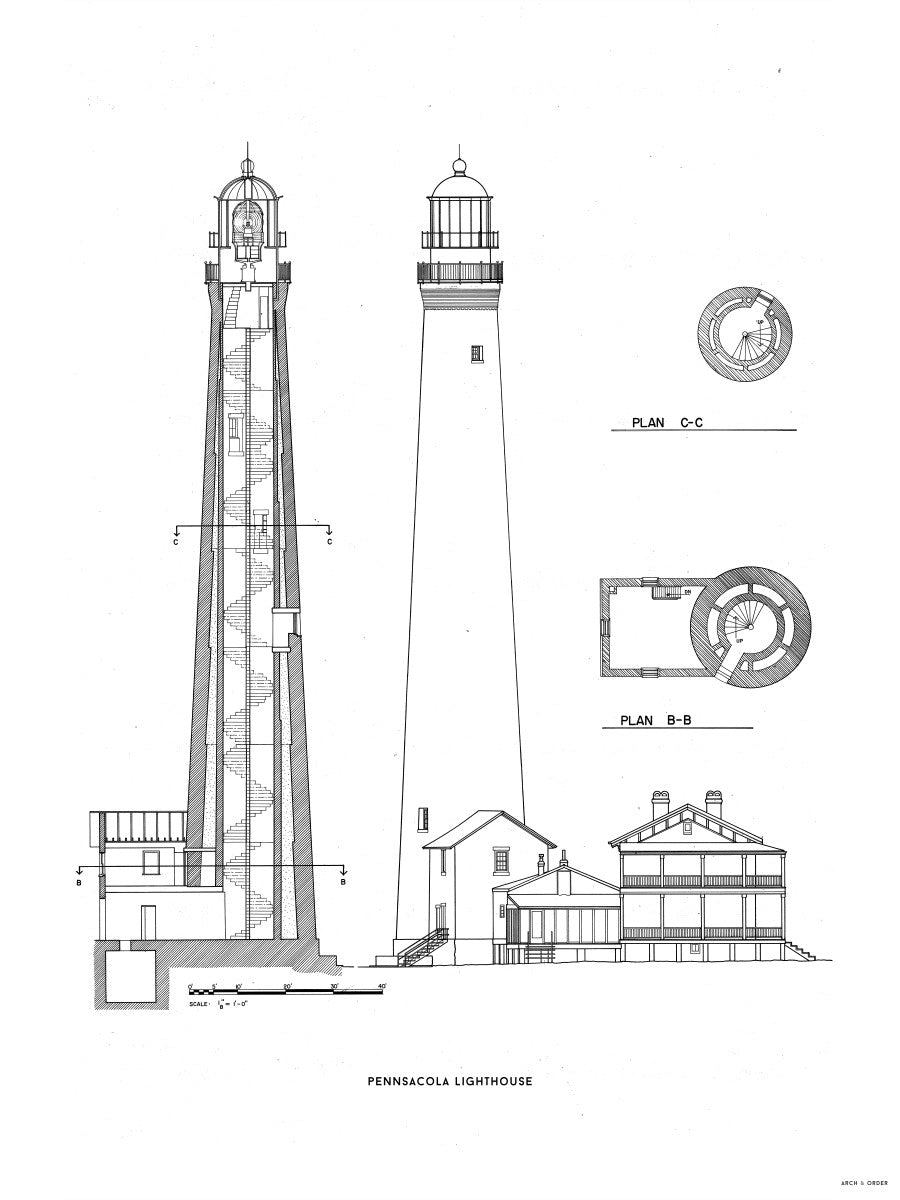 The Pensacola Lighthouse - West Elevation and Cross Section - White -