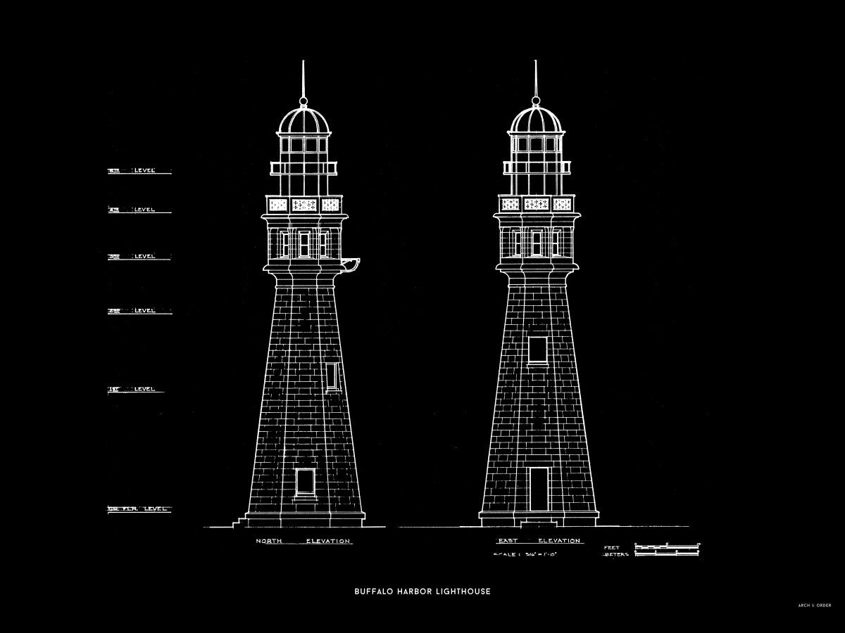 Buffalo Harbor Lighthouse - North and East Elevations - Black -