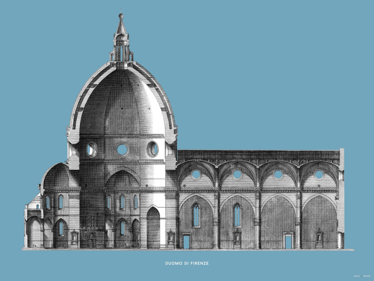 Duomo di Firenze - Transverse Cross Section - Blue -