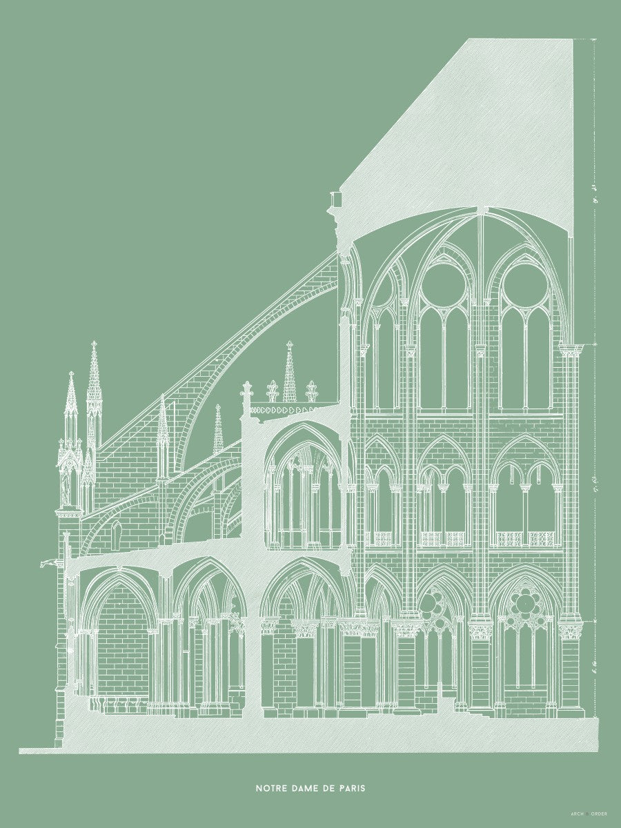 Notre Dame de Paris - Cross Section - Green -