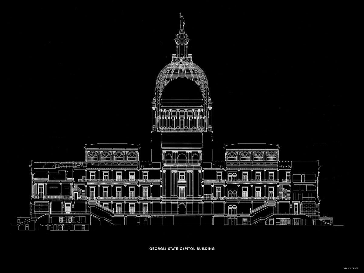 The Georgia State Capitol Building - West Elevation Cross Section - Black -
