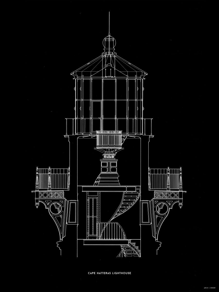 Cape Hatteras Lighthouse - Lantern Cross Section - Black -