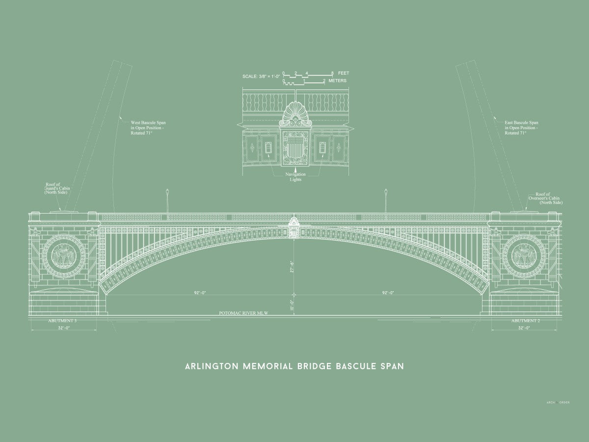 The Arlington Memorial Bridge - Bascule Span - Green -
