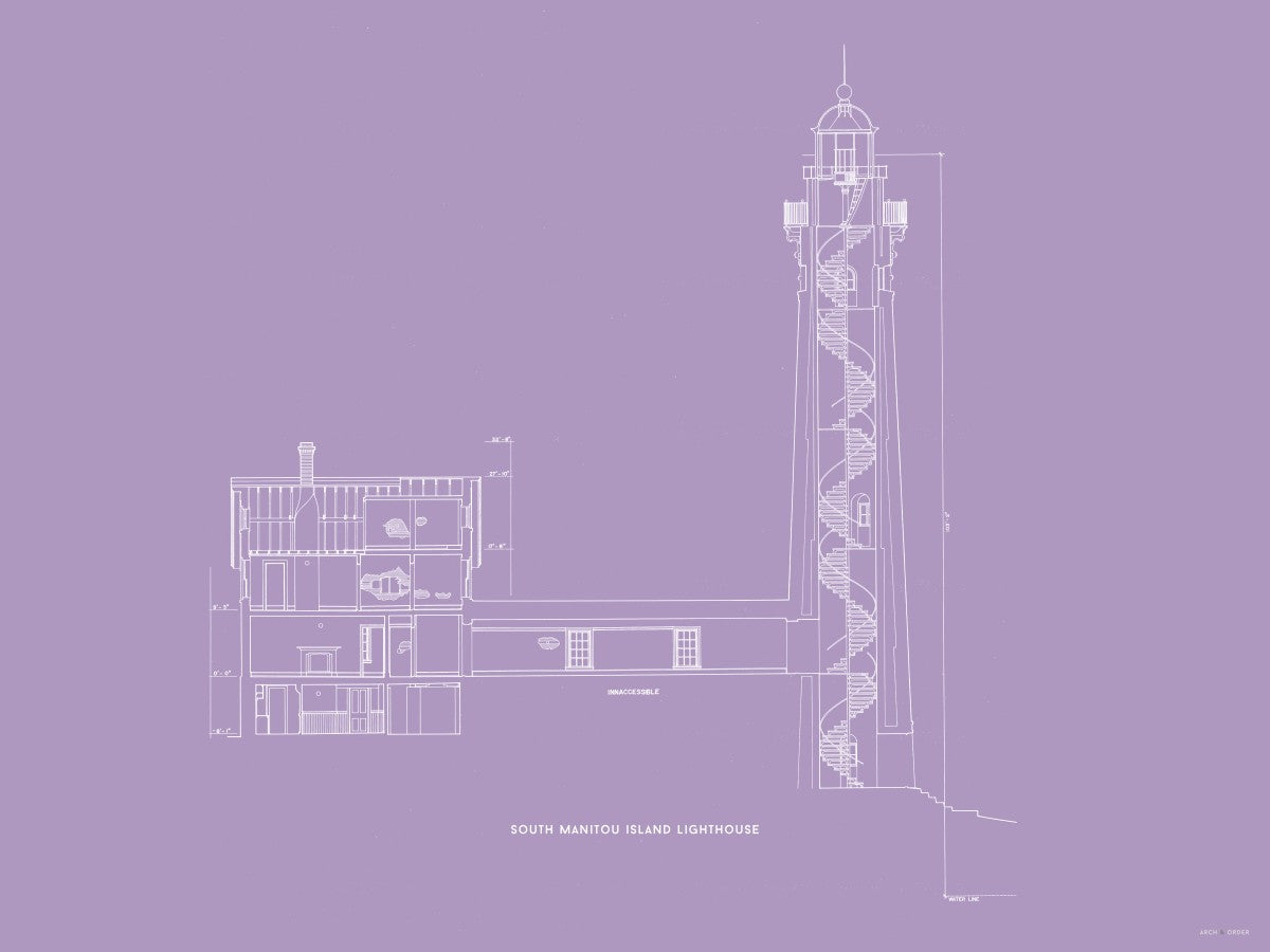 South Manitou Island Lighthouse - Cross Section - Lavender -
