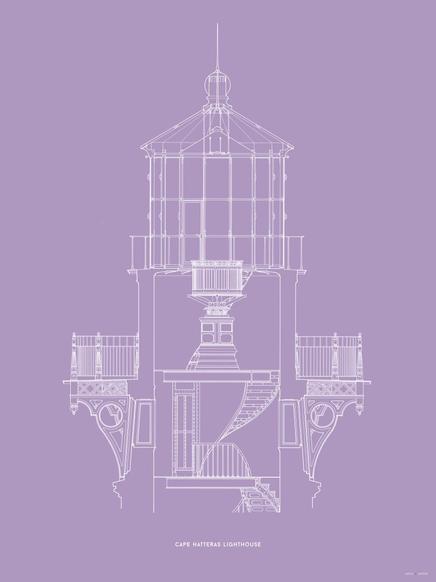 Cape Hatteras Lighthouse - Lantern Cross Section - Lavender -