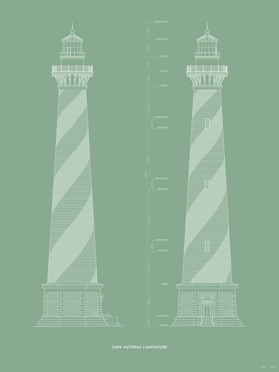 Cape Hatteras Lighthouse - North and East Elevations - Green -