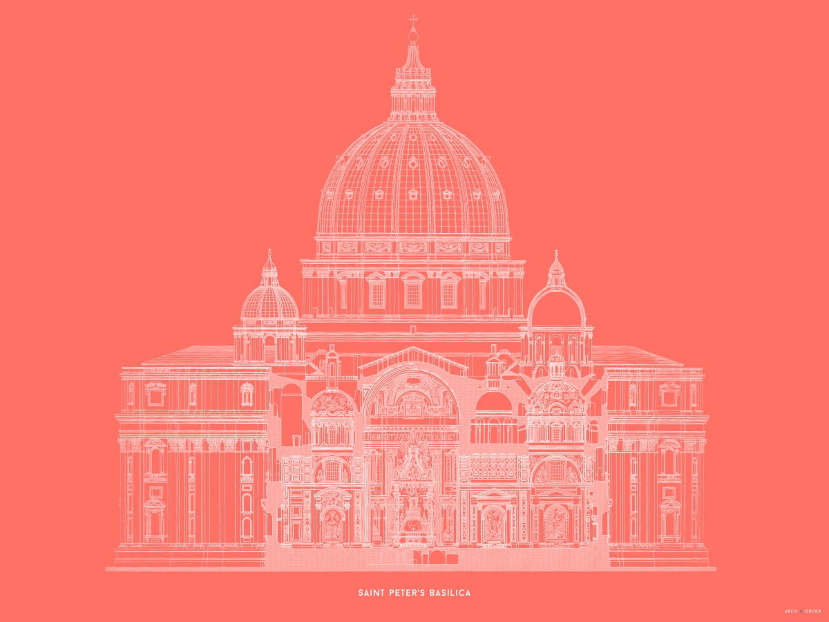 Saint Peter's Basilica - Primary Elevation Cross Section - Red -
