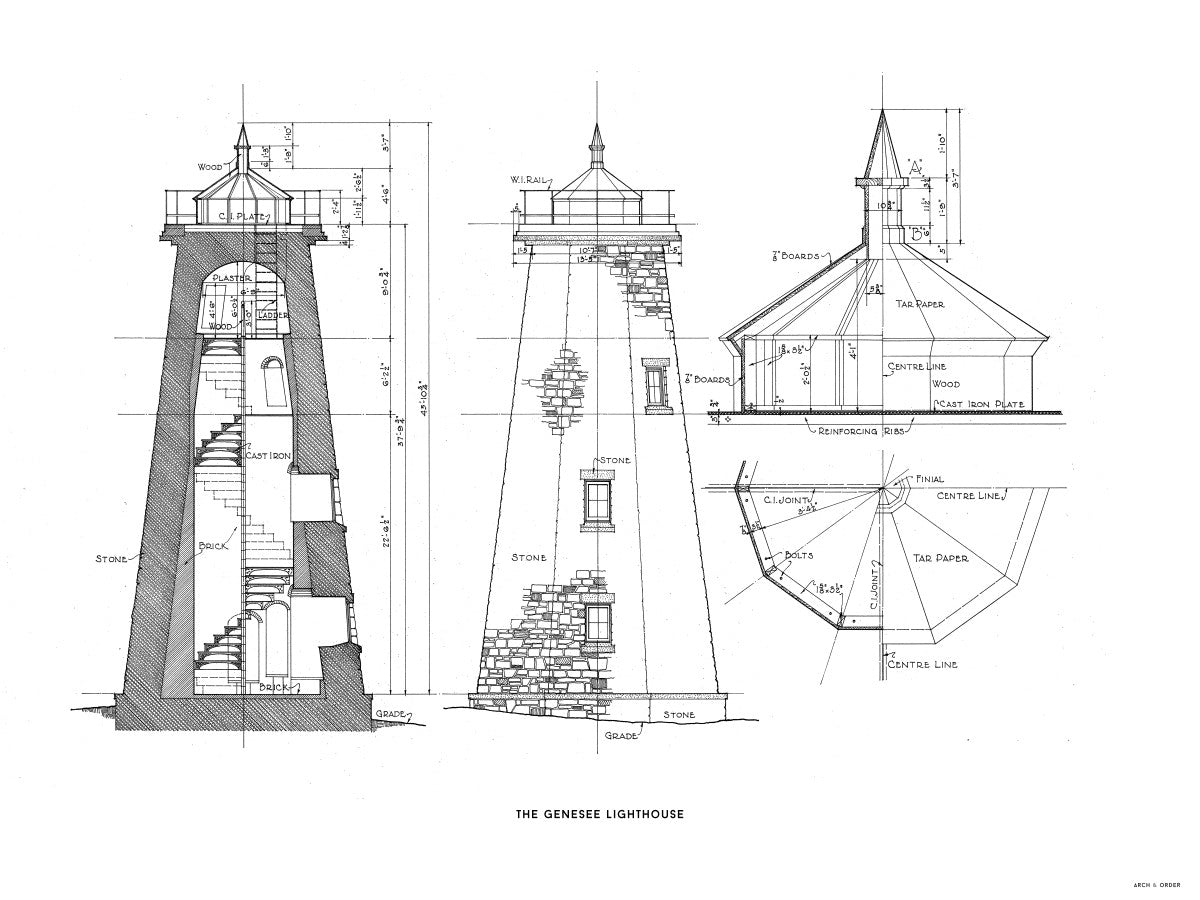 The Genesee Lighthouse - South Elevation and Cross Section - White -