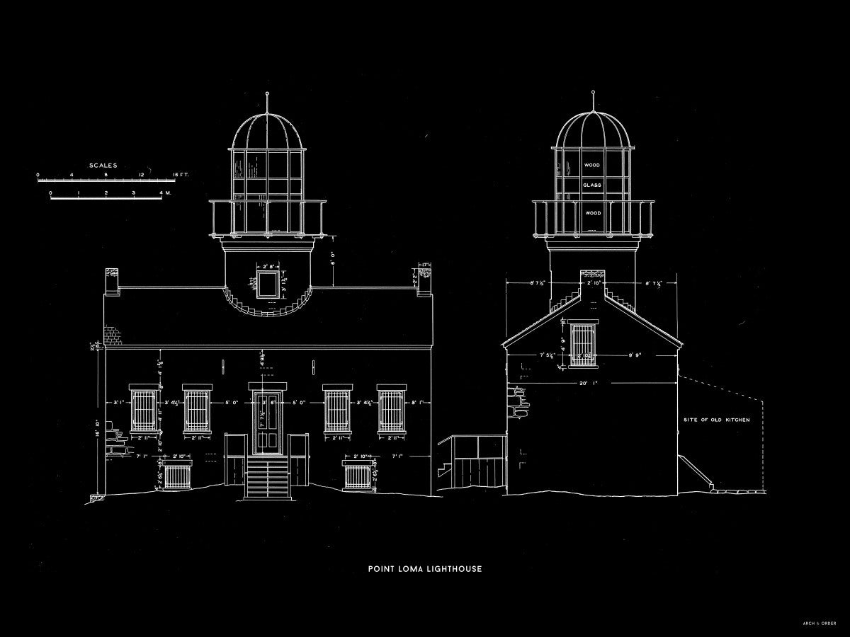 Point Loma Lighthouse - East and North Elevations - Black -
