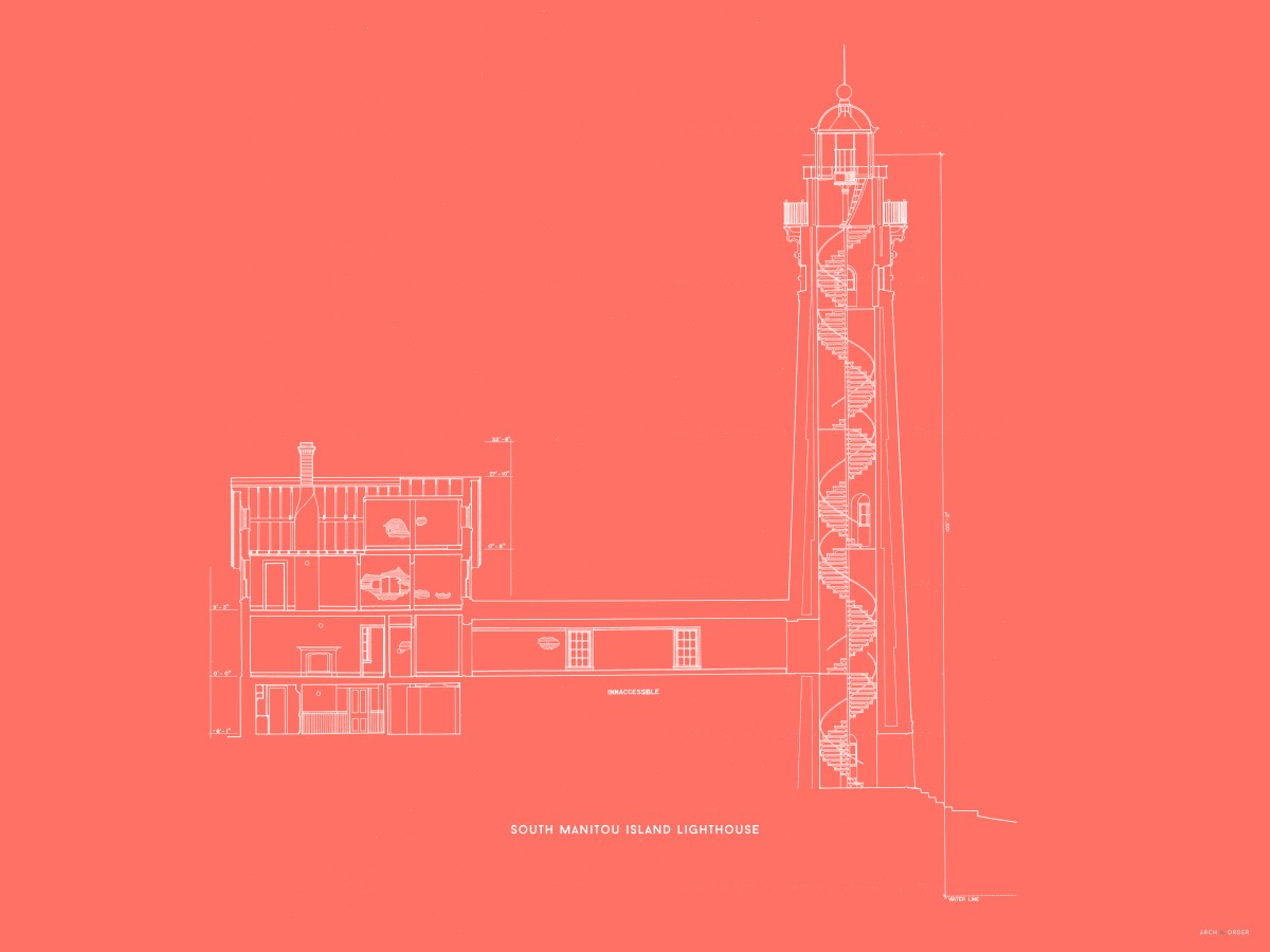 South Manitou Island Lighthouse - Cross Section - Red -